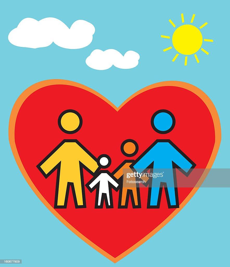 Family Standing in heart shape : Stock Illustration