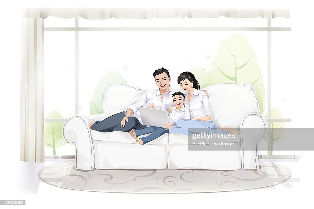 Family using computer : Stock Illustration
