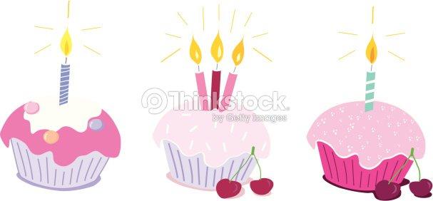 Deseo Cumpleaños Cupcakes Arte Vectorial