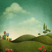 Background with green landscape  for fairytale illustrations.  Computer  graphics