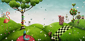 Fabulous bright background with fantasy elements for wall or poster or illustration Wonderland. Computer graphics.