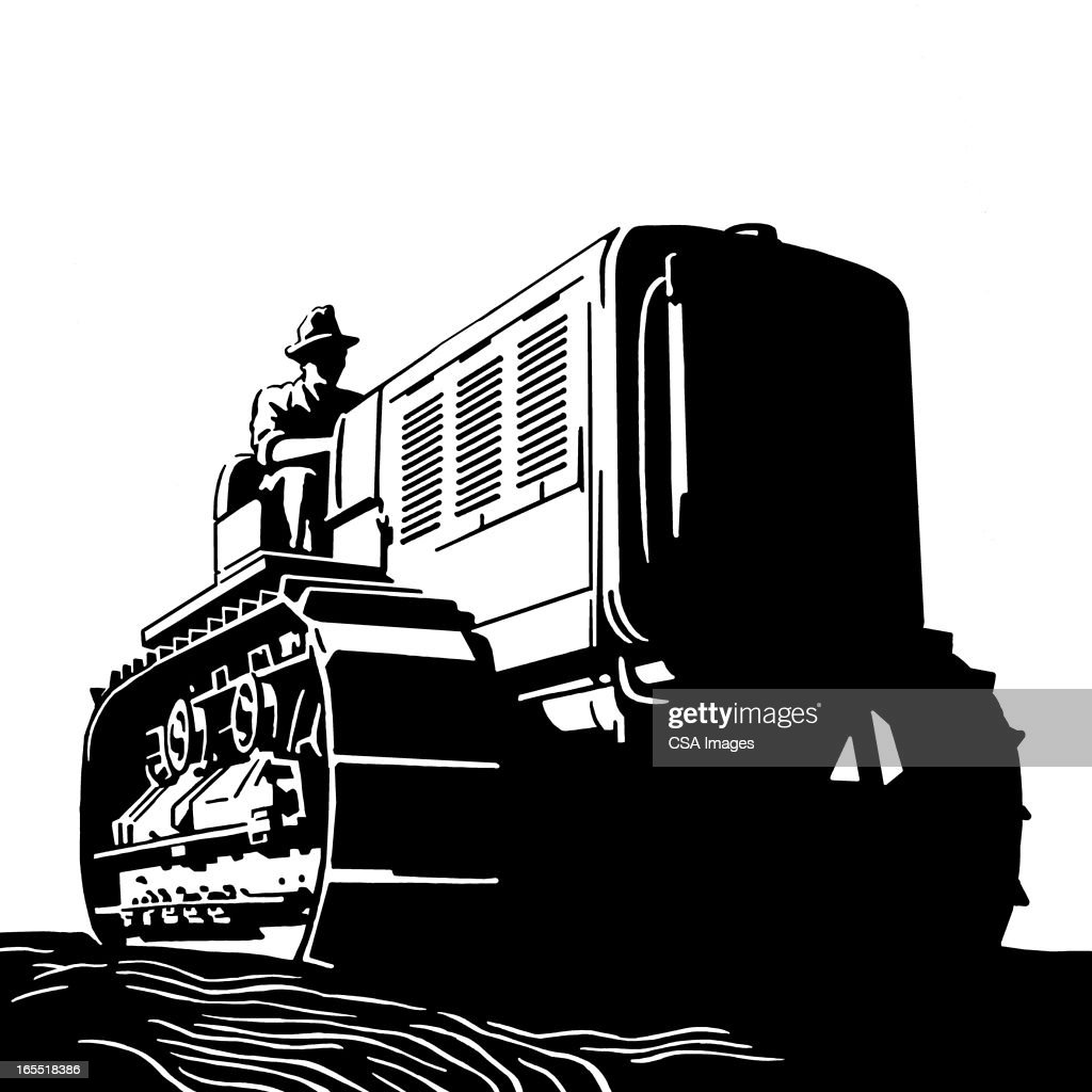 Farmer on a Tractor : Stock Illustration