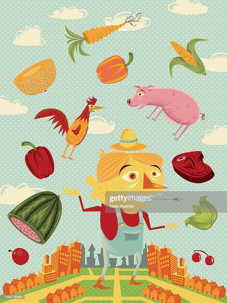A farmer standing near a city, juggling food : Stock Illustration
