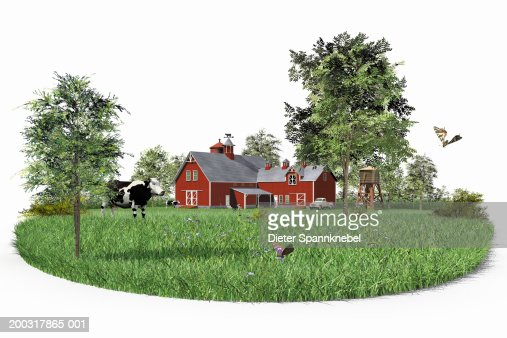Farmhouse in field with cow and butterflies (Digital) : Stock Illustration