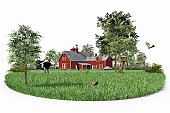 Farmhouse in field with cow and butterflies (Digital)