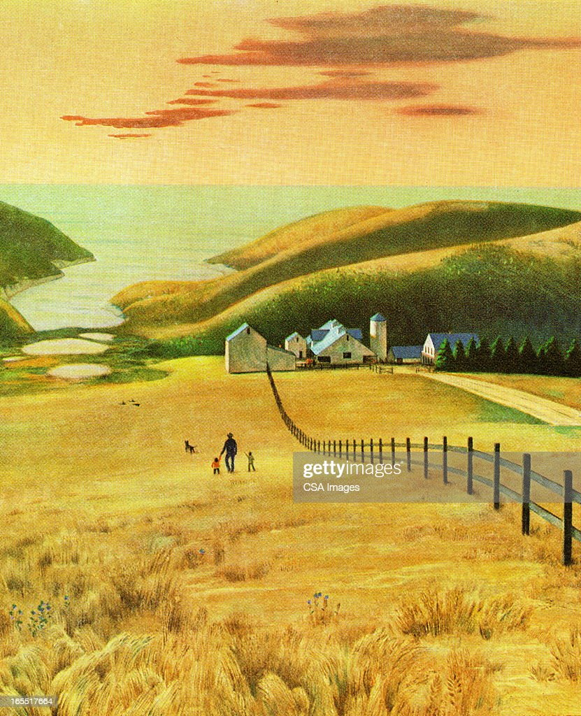 Farmland By the Sea : Stock Illustration