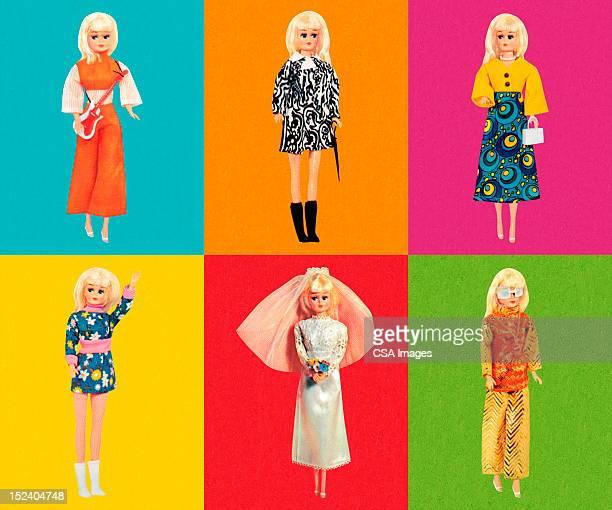 Bambola di moda con sei diversi completi