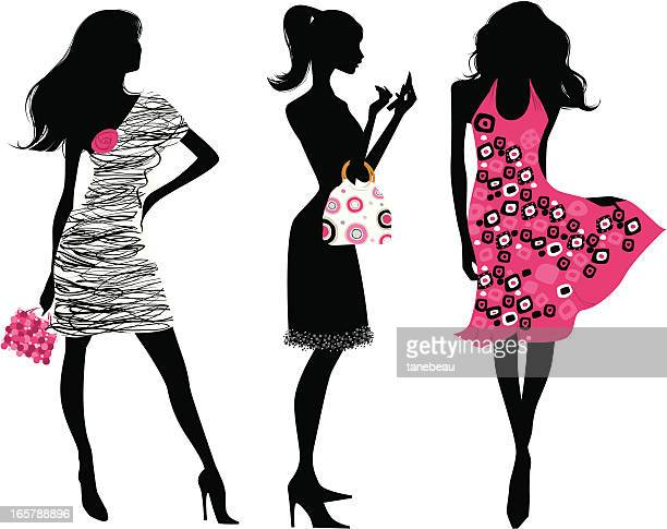 Fashion silhouettes in pink and black