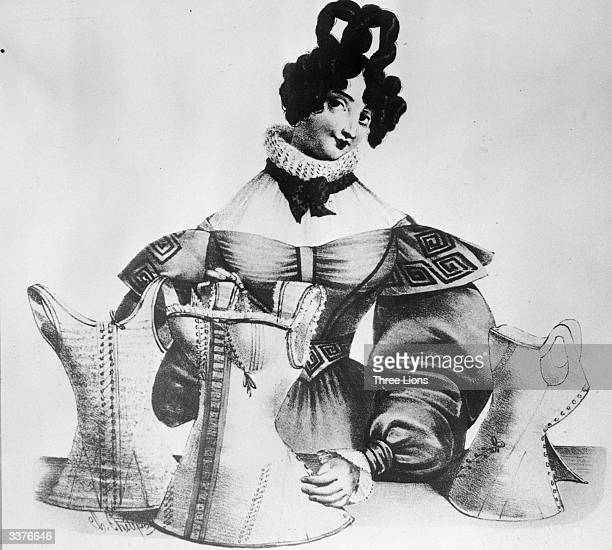 A fashionable woman presents a selection of corsets of 1830