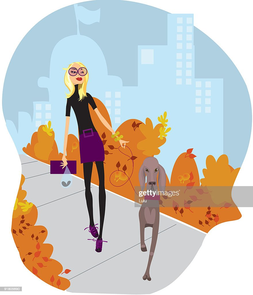 A fashionable young woman walking her dog in the park with the city behind : Stock Illustration