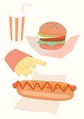 Fast food menu, close-up, illustration