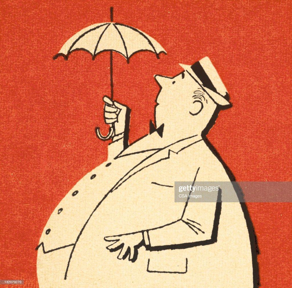 Fat Man Holding Tiny Umbrella : Stock Illustration