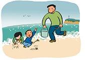 Father and His Children Enjoying Gathering Shellfish