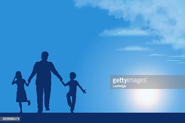 Father's Day background[Father and children silhouette]