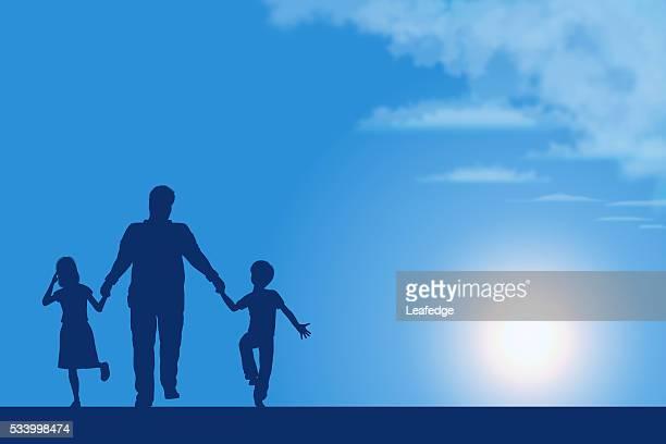 La festa del papà sfondo [ padre E figli silhouette ]