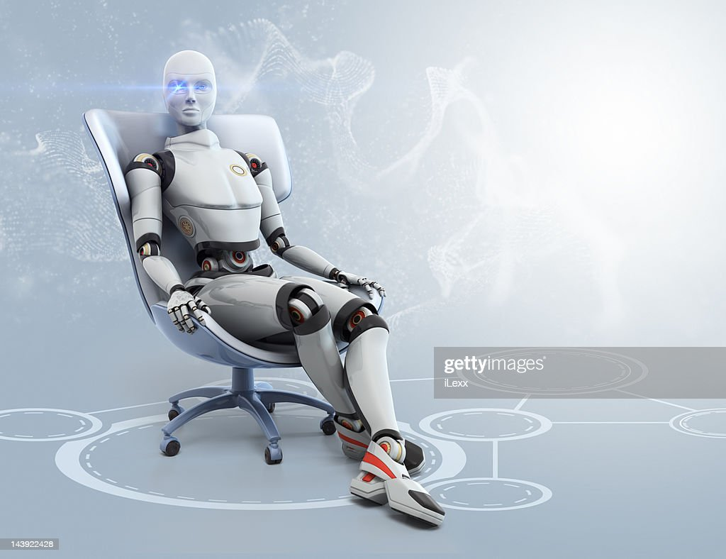 Female android sitting in armchair : Stock Illustration