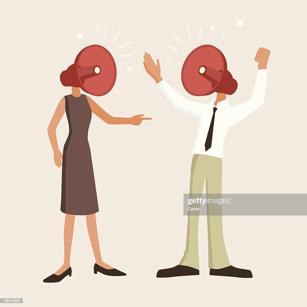 Fierce argument between man and woman : Vector Art