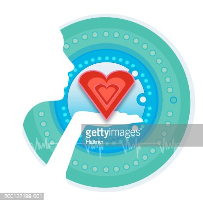 Figure holding heart shape in front of circular pattern : Stock Illustration