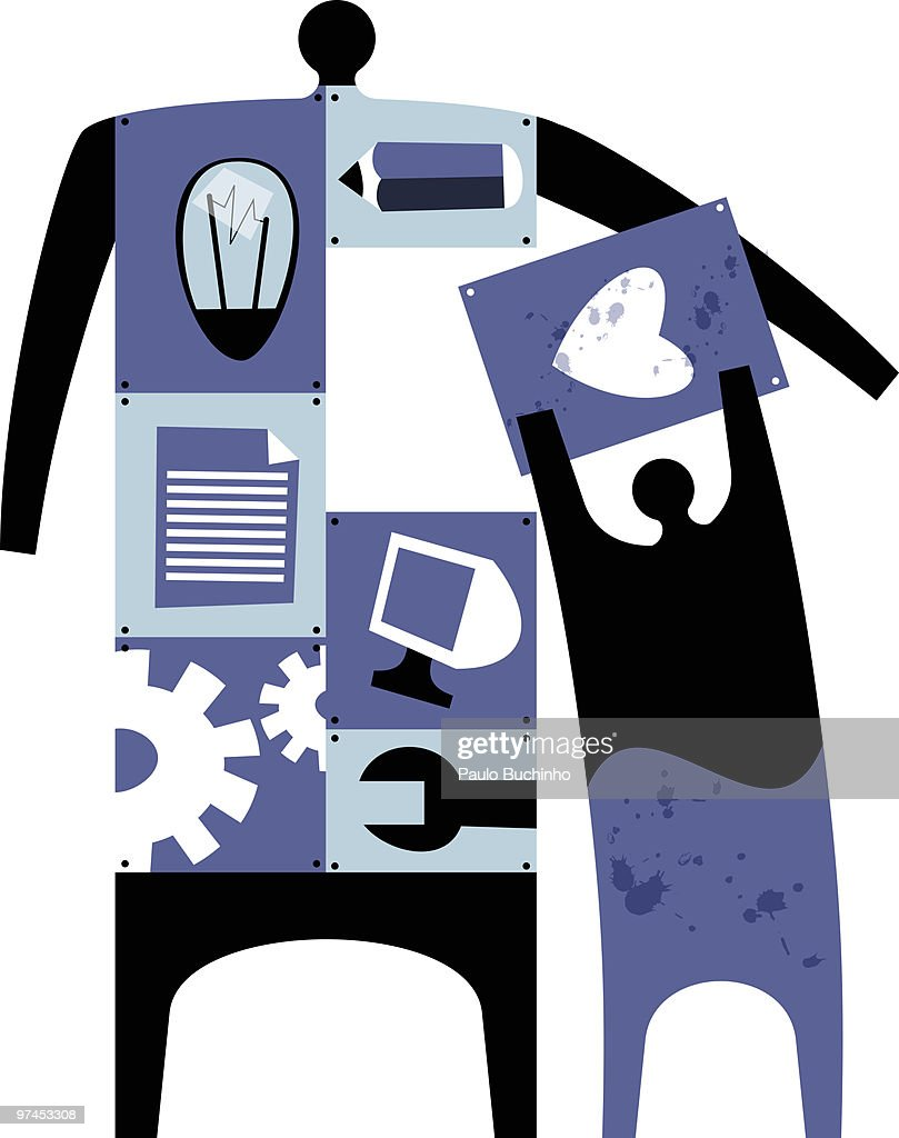 A figure made up of numerous parts including a light bulb, cogs, and pencil with another figure plac : Stock Illustration