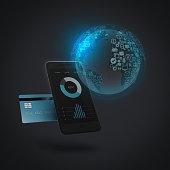 Kreditkarte, smartphone, Weltkarte und Icons symbolisieren internationalen Zahlungsverkehr beim Online-Shopping, mobile payment und Finanztechnologie