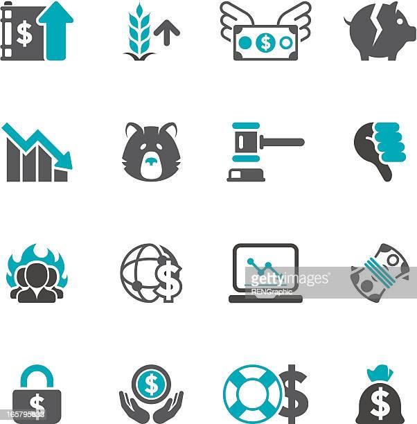 Financial Turmoil & Inflation Icon Set | Concise Series