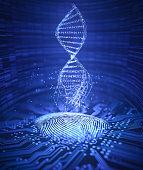 3D illustration. Genetic code DNA coming out of the fingerprint.