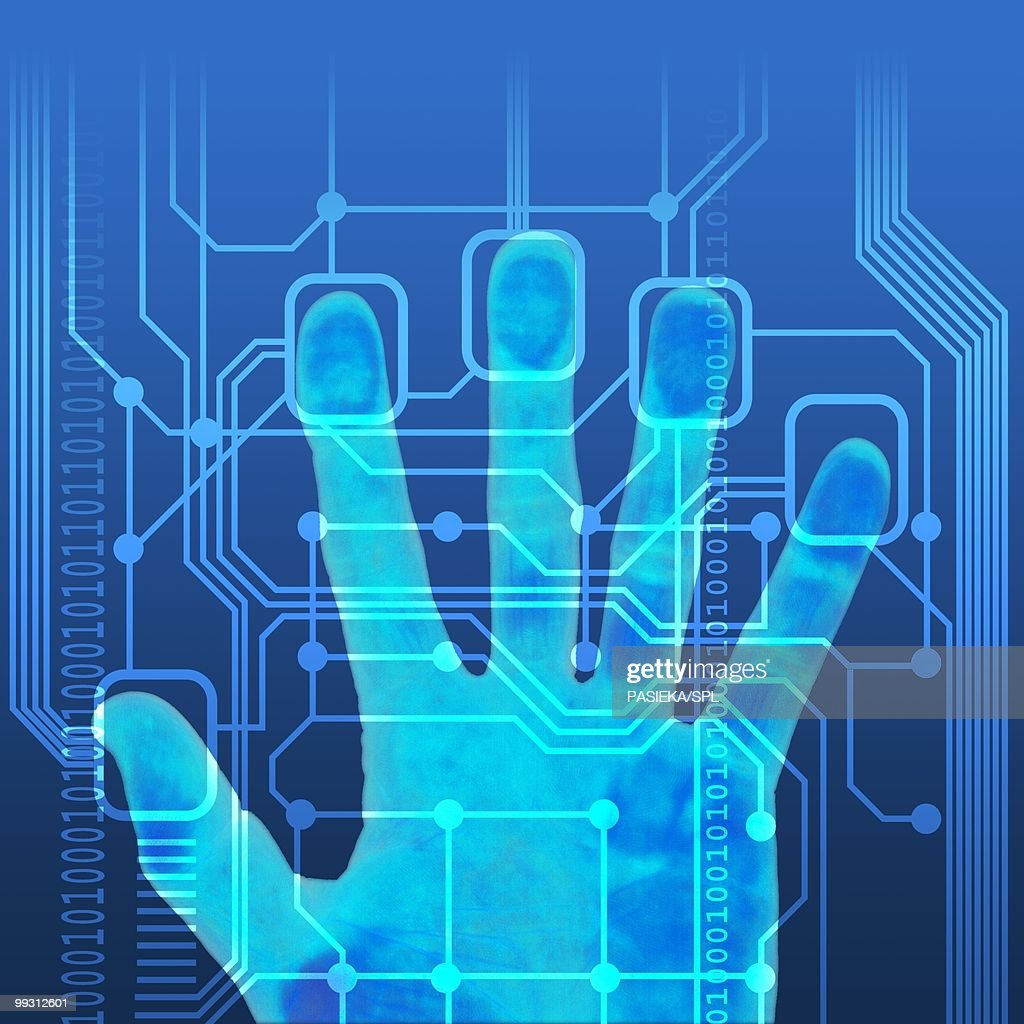 Fingerprint scanner, artwork : Stock Illustration