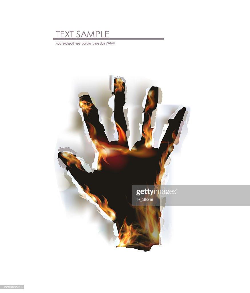 Fire background, human's hand raising up : Stock Illustration
