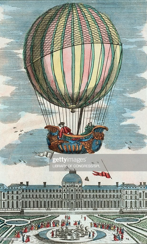 First manned hydrogen balloon flight : Stock Illustration