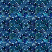 Fish scale ocean wave japanese seamless pattern. Watercolor hand drawn dark blue teal texture background. Watercolour geometrical scale shaped elements. Print for textile, wallpaper, wrapping