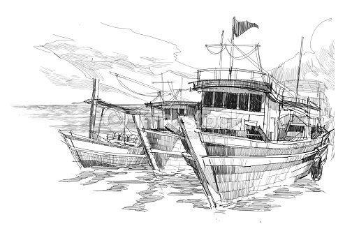 Barcos De Pesca En El Puerto De Dibujo Ilustración De Stock Thinkstock
