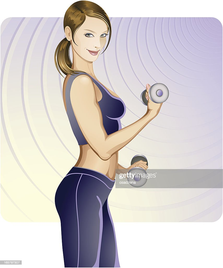 Fitness lady vector art getty images for Lady fitness