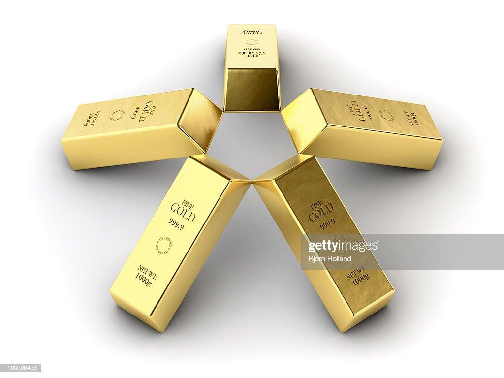 Five gold bars : Stock Illustration