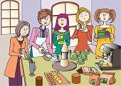 Five Young Adult Women Having a Tea Break, Illustrative Technique