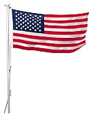 US flag flying on mast, front view.