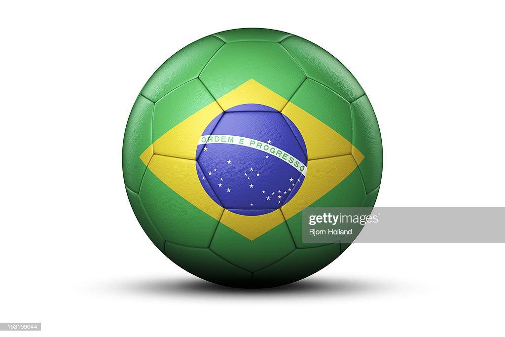Flag of Brazil on Soccer Ball : Stock Illustration