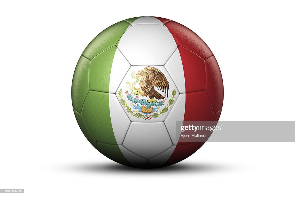 Flag of Mexico on Soccer Ball : Stock Illustration
