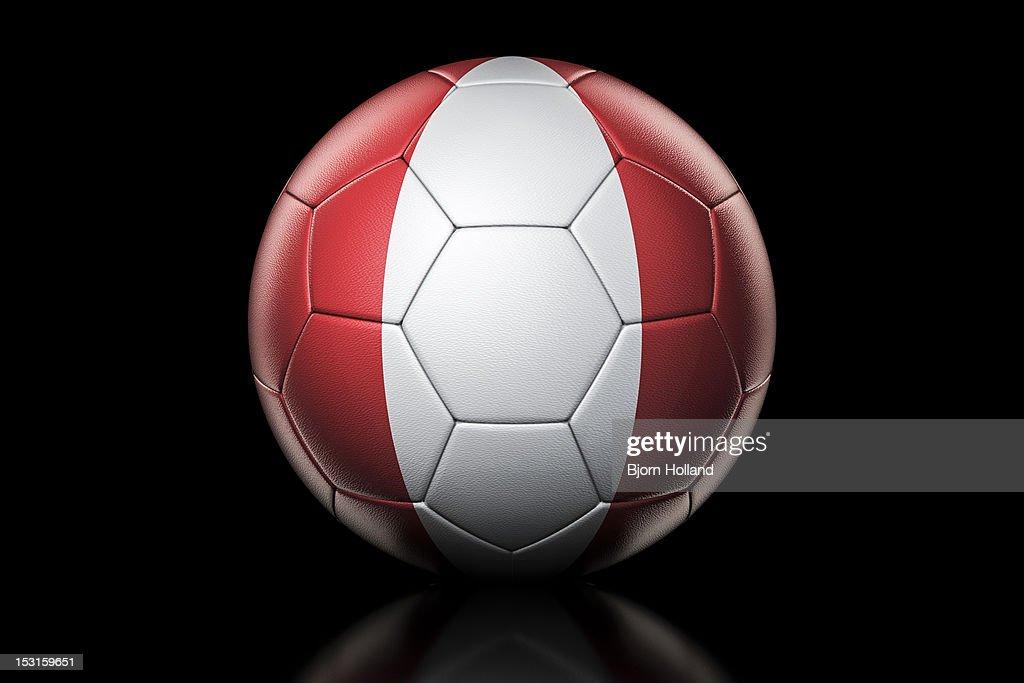 Flag of Peru on Soccer Ball : Stock Illustration