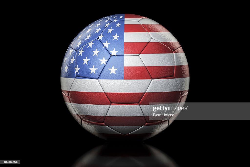Flag of USA on Soccer Ball : Stock Illustration