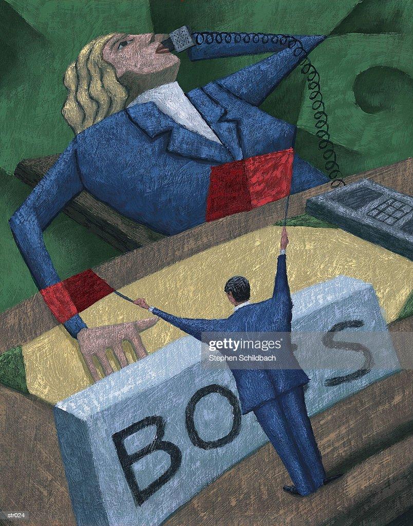 Flagging Down One's Boss : Stock Illustration