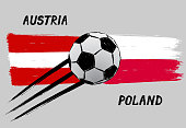 Flags of Austria and Poland - Icon for euro football championship qualify - Grunge
