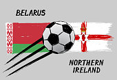 Flags of Belarus and Northern Ireland -  Icon for euro football championship qualify - Grunge