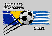 Flags of Bosnia And Herzegovina and Greece - Icon for euro football championship qualify - Grunge