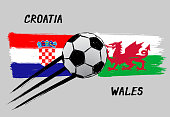 Flags of Croatia and Wales -  Icon for euro football championship qualify - Grunge