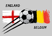 Flags of England and Belgium -  Grunge