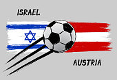 Flags of Israel and Austria - Icon for euro football championship qualify - Grunge