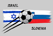 Flags of Israel and Slovenia - Icon for euro football championship qualify - Grunge