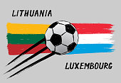 Flags of Lithuania and Luxembourg - Icon for euro football championship qualify - Grunge