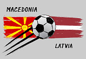 Flags of Macedonia and Latvia - Icon for euro football championship qualify - Grunge