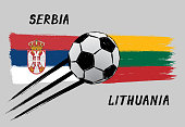 Flags of Serbia and Lithuania -  Icon for euro football championship qualify - Grunge